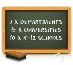7 x Department, 15 x Universities, 10 x K-12 Schools